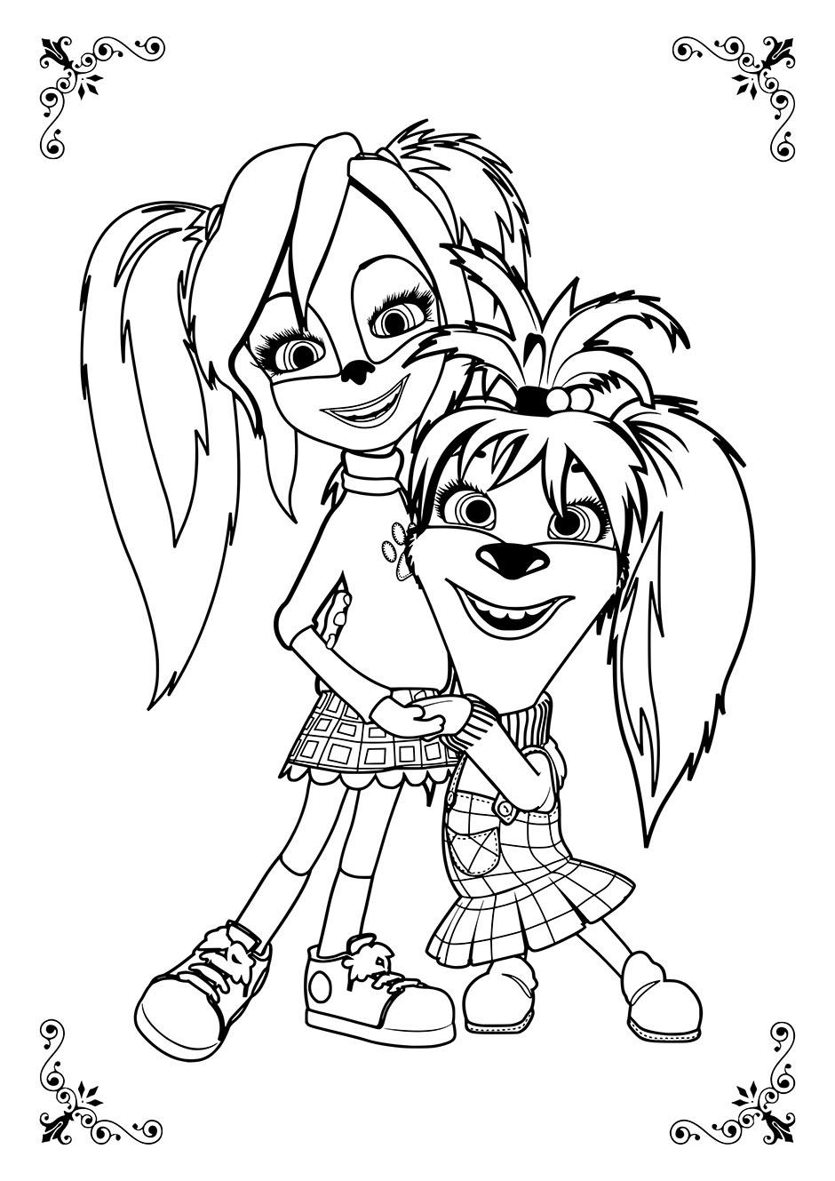 Раскраска: Роза и Лиза вместе — raskraski-a4.ru