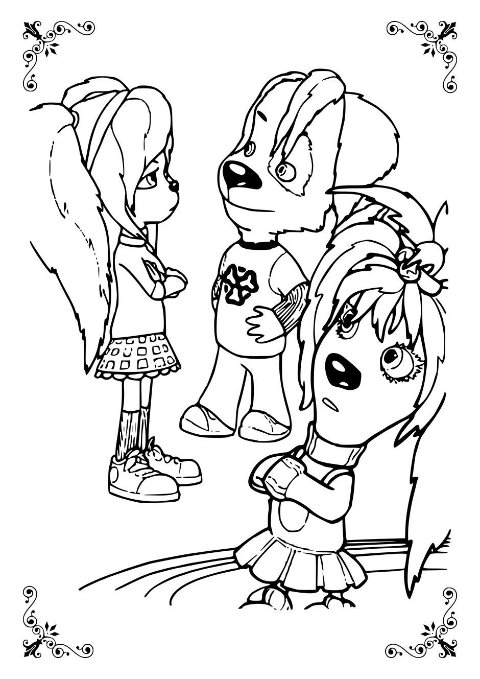 Раскраска: Лиза, Роза и Дружок — raskraski-a4.ru