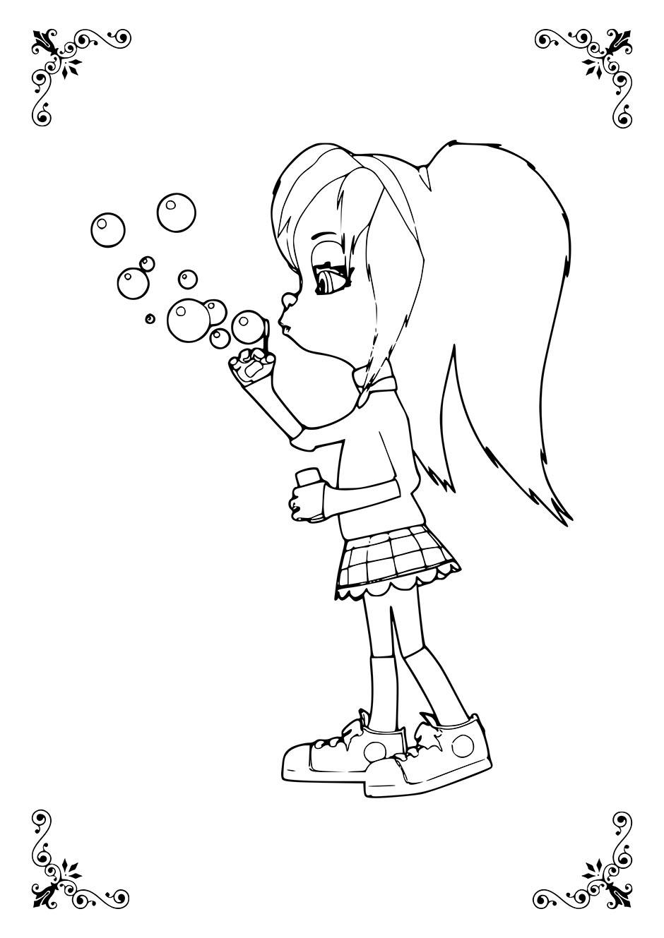 Раскраска: Роза пускает мыльные пузыри — raskraski-a4.ru
