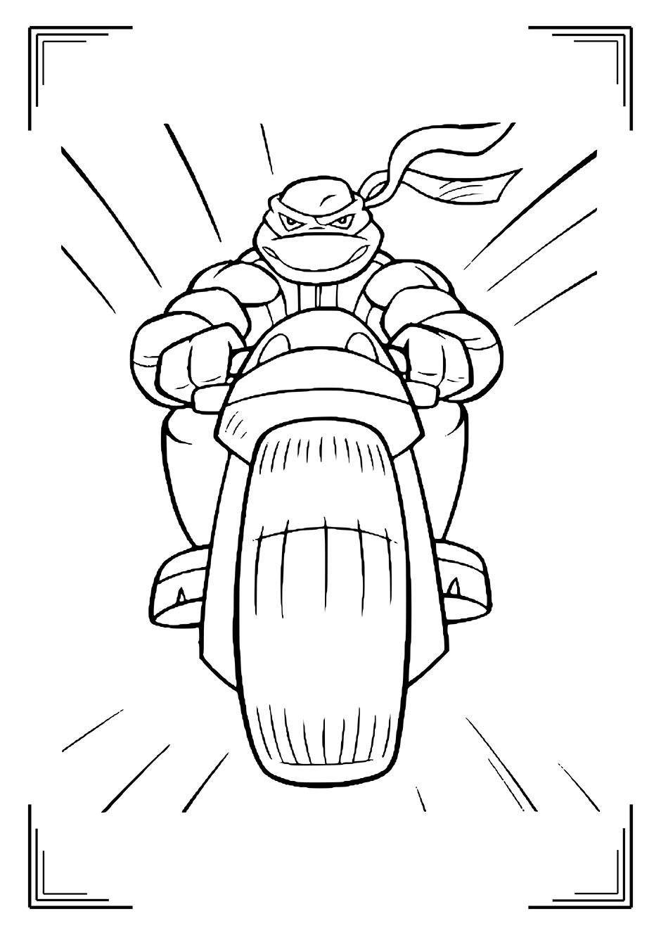 Раскраска: черепашка ниндзя на мотоцикле — raskraski-a4.ru