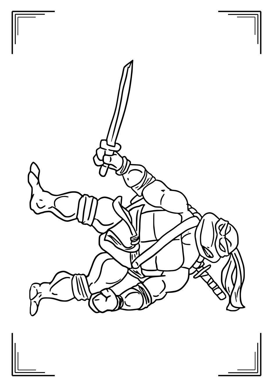 Раскраска: ниндзя черепашка с мечом — raskraski-a4.ru