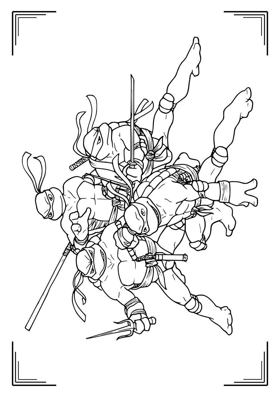 Раскраска: черепашки ниндзя вместе — raskraski-a4.ru