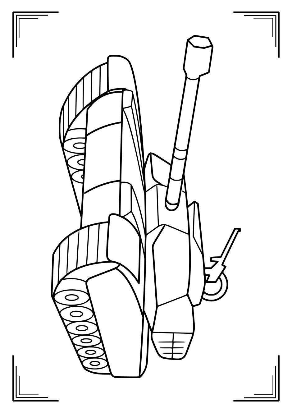 Раскраска: танк с пулеметом на башне — raskraski-a4.ru