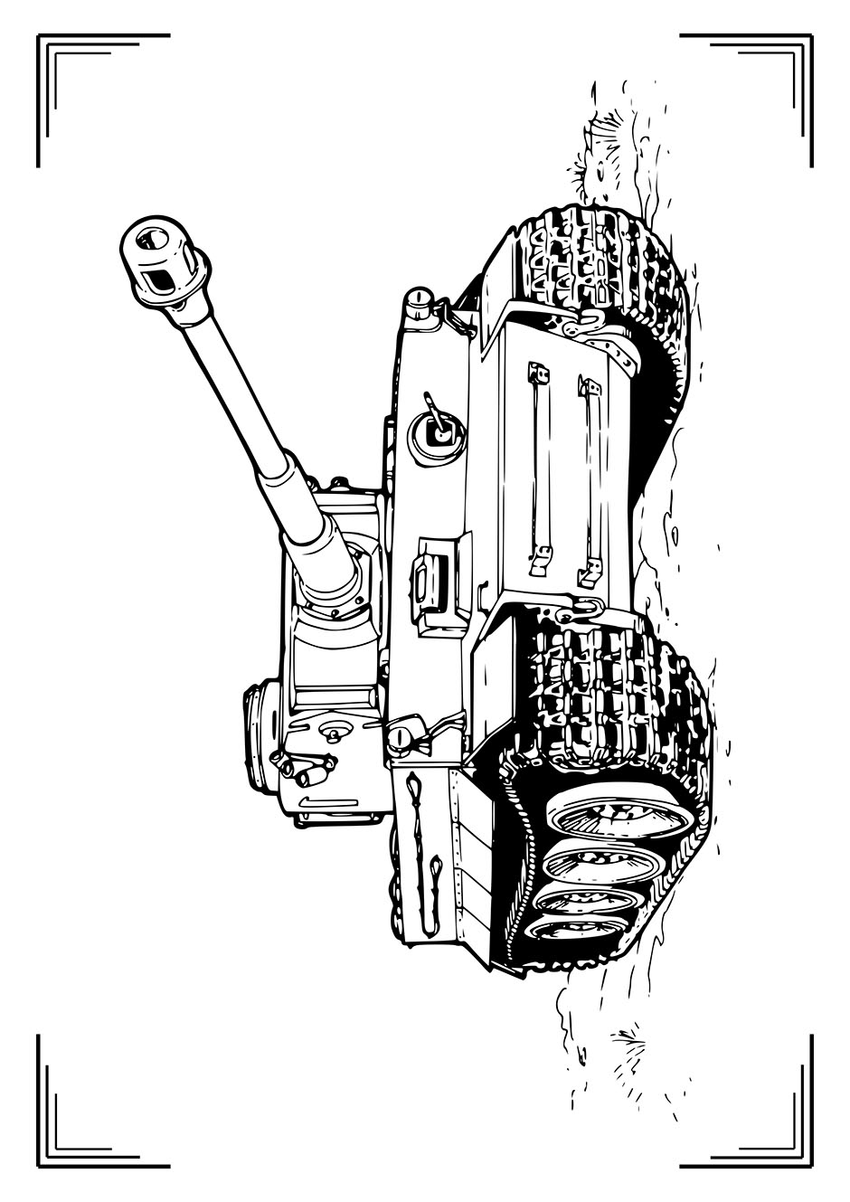 Раскраска: танк Тигр — raskraski-a4.ru