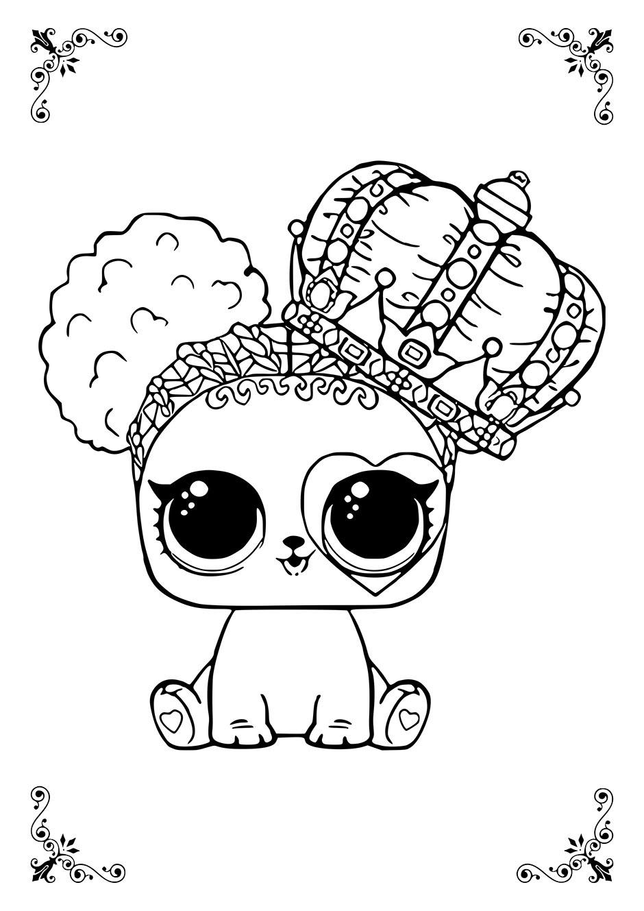 Раскраска: кукла ЛОЛ кошка-королева — raskraski-a4.ru