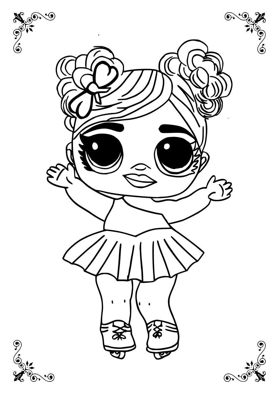 Раскраска: кукла ЛОЛ на коньках — raskraski-a4.ru