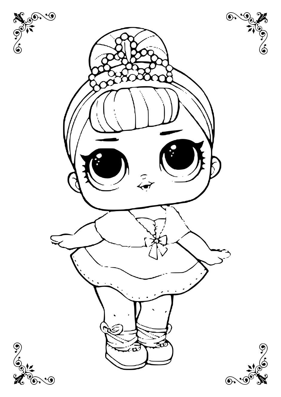 Раскраска: кукла ЛОЛ принцесса — raskraski-a4.ru