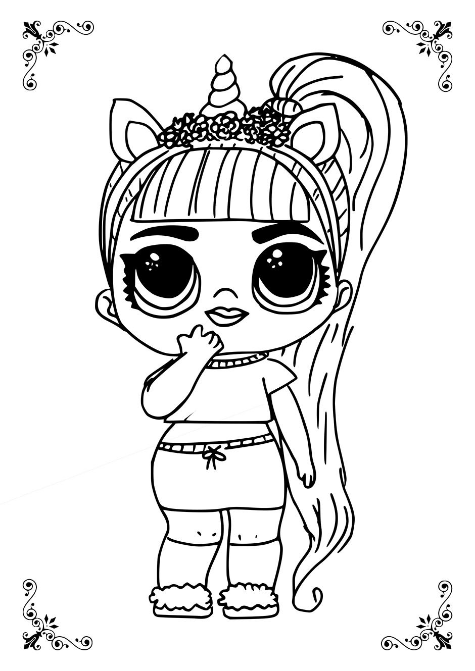 Раскраска: кукла ЛОЛ с длинным хвостом — raskraski-a4.ru