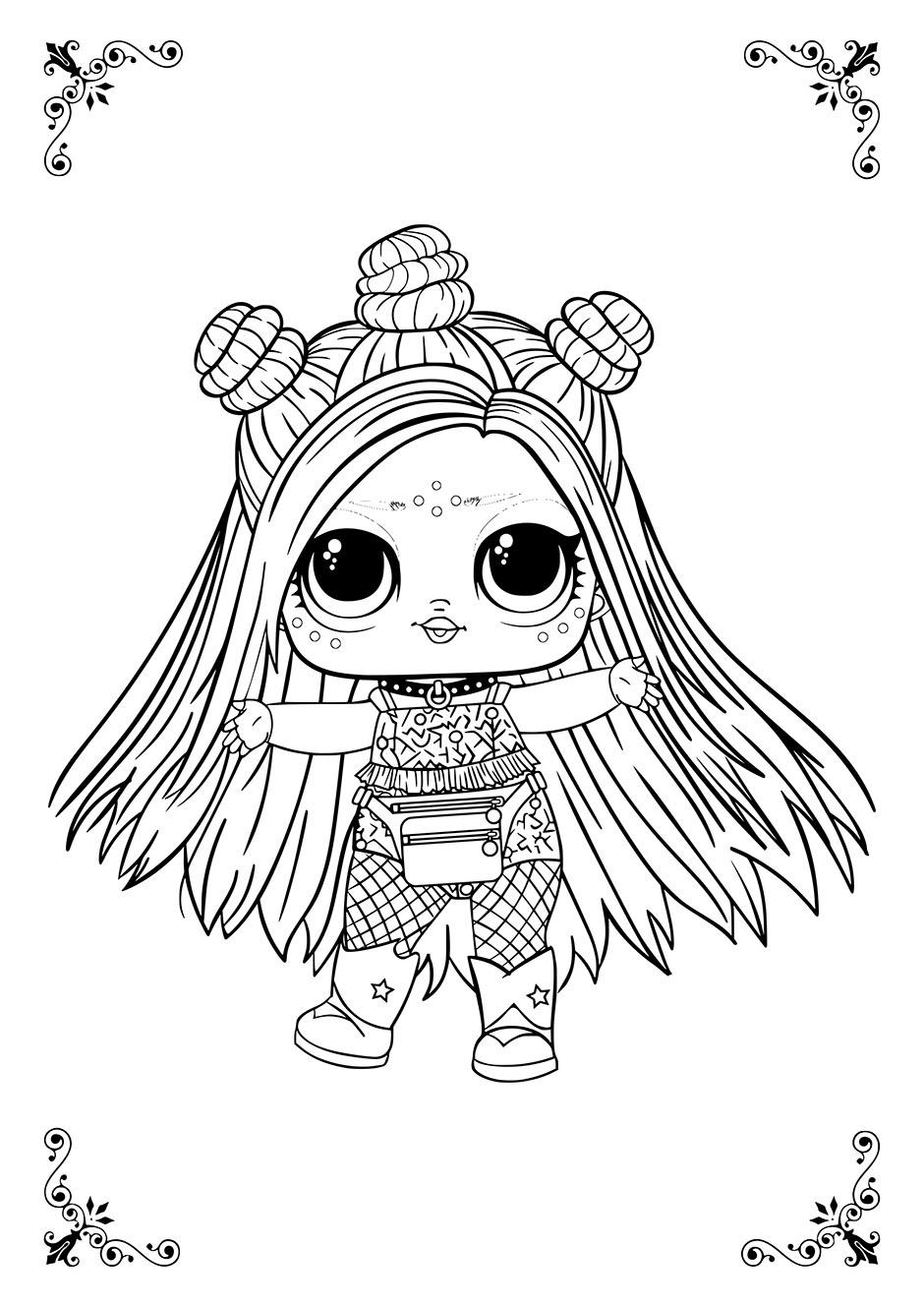 Раскраска: кукла ЛОЛ с гульками — raskraski-a4.ru