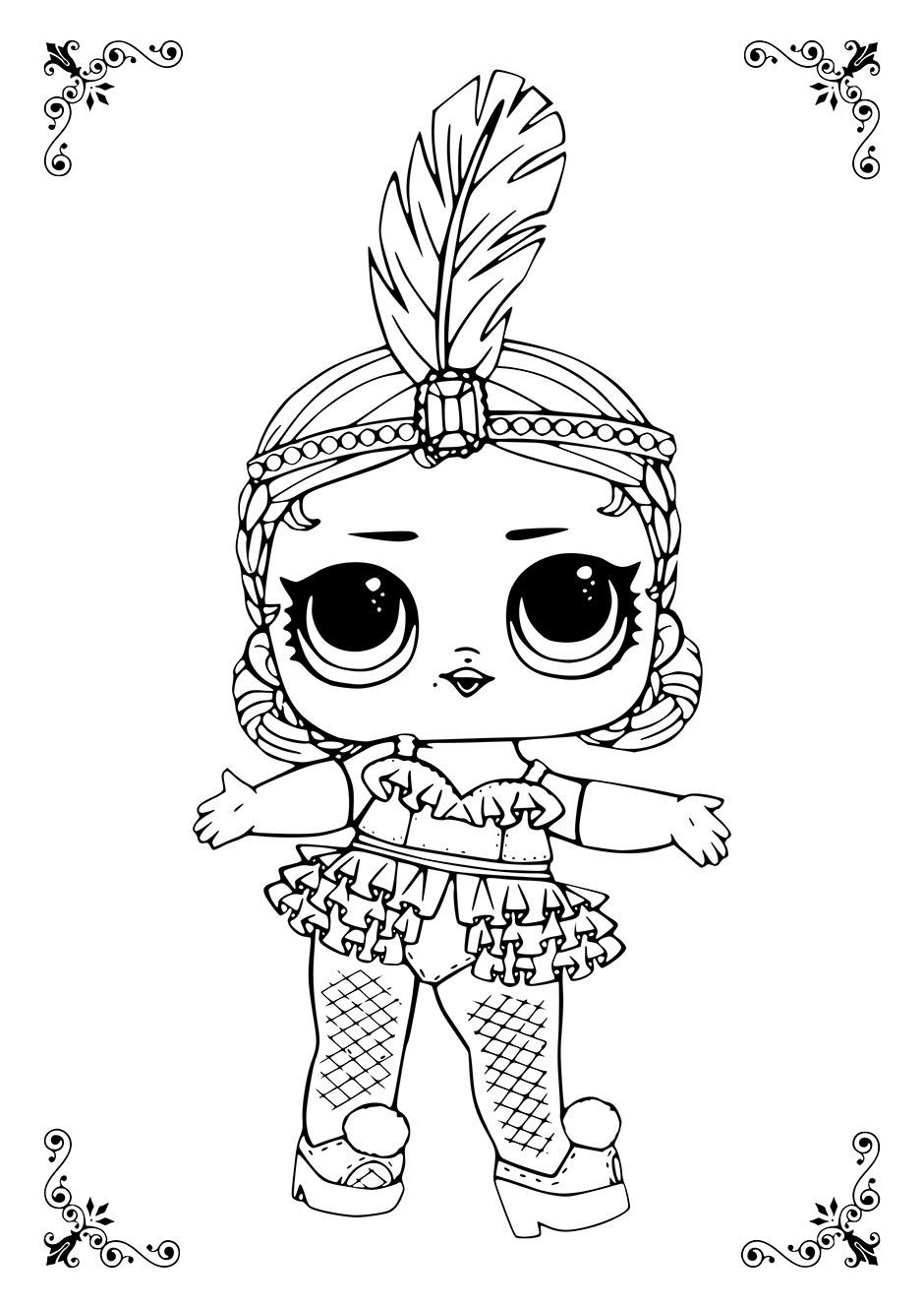 Раскраска: кукла ЛОЛ с пером на голове — raskraski-a4.ru