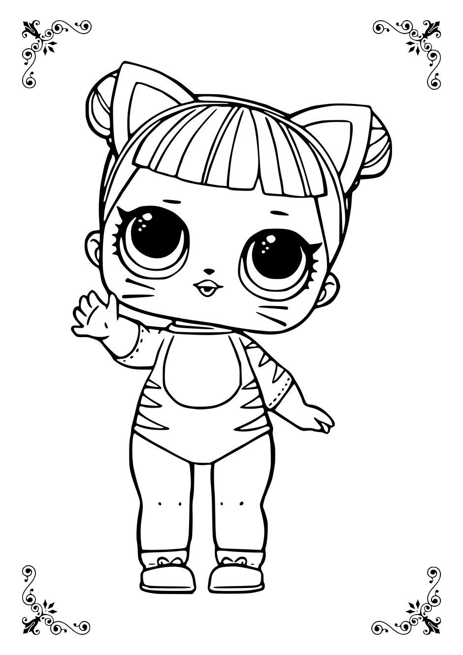 Раскраска: кукла ЛОЛ тигрица — raskraski-a4.ru