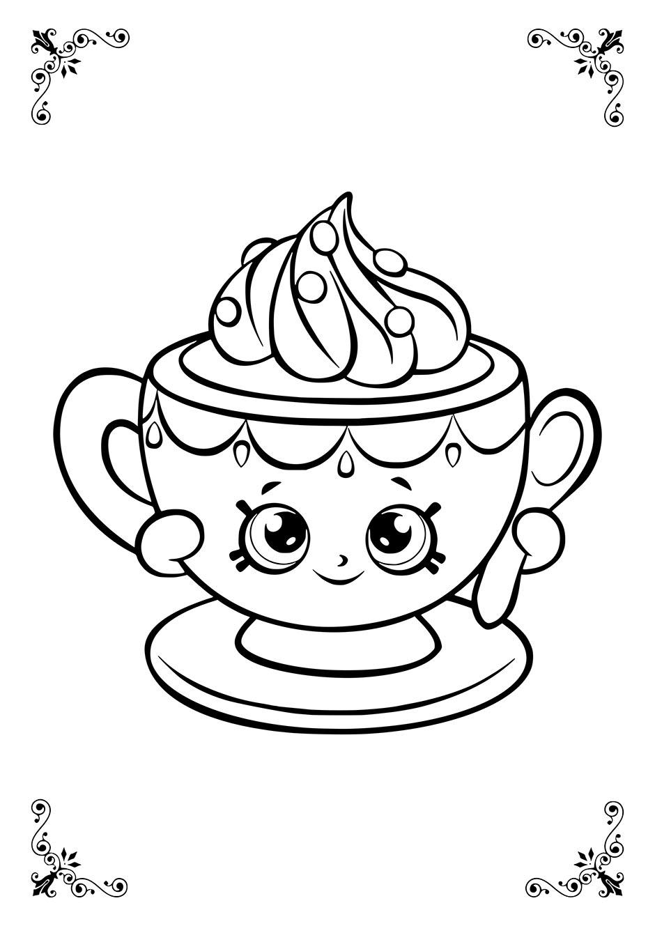Раскраска: чашка с глазками — raskraski-a4.ru