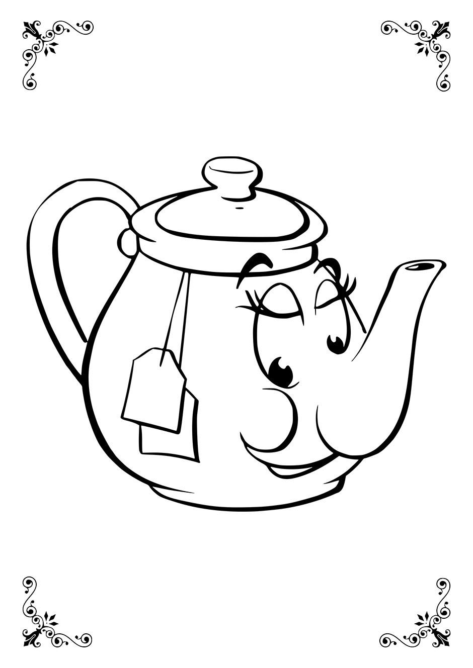Раскраска: чайник с глазками — raskraski-a4.ru