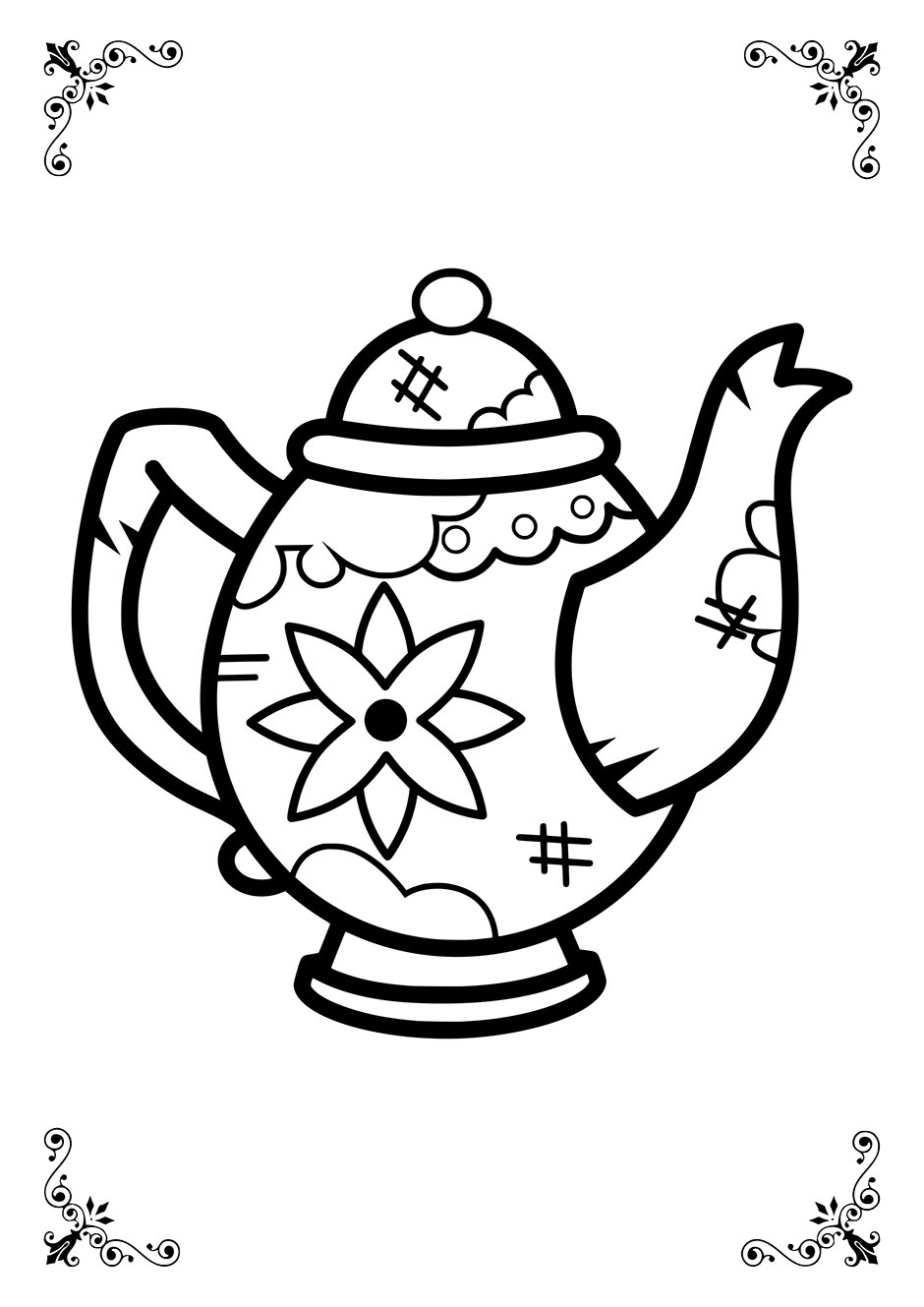 Раскраска: чайник с цветком — raskraski-a4.ru