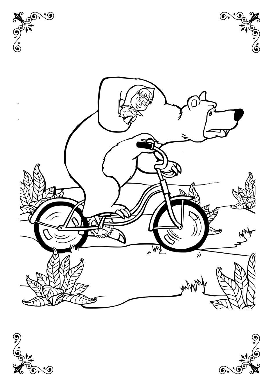 Раскраска: Маша и Медведь на велосипеде — raskraski-a4.ru