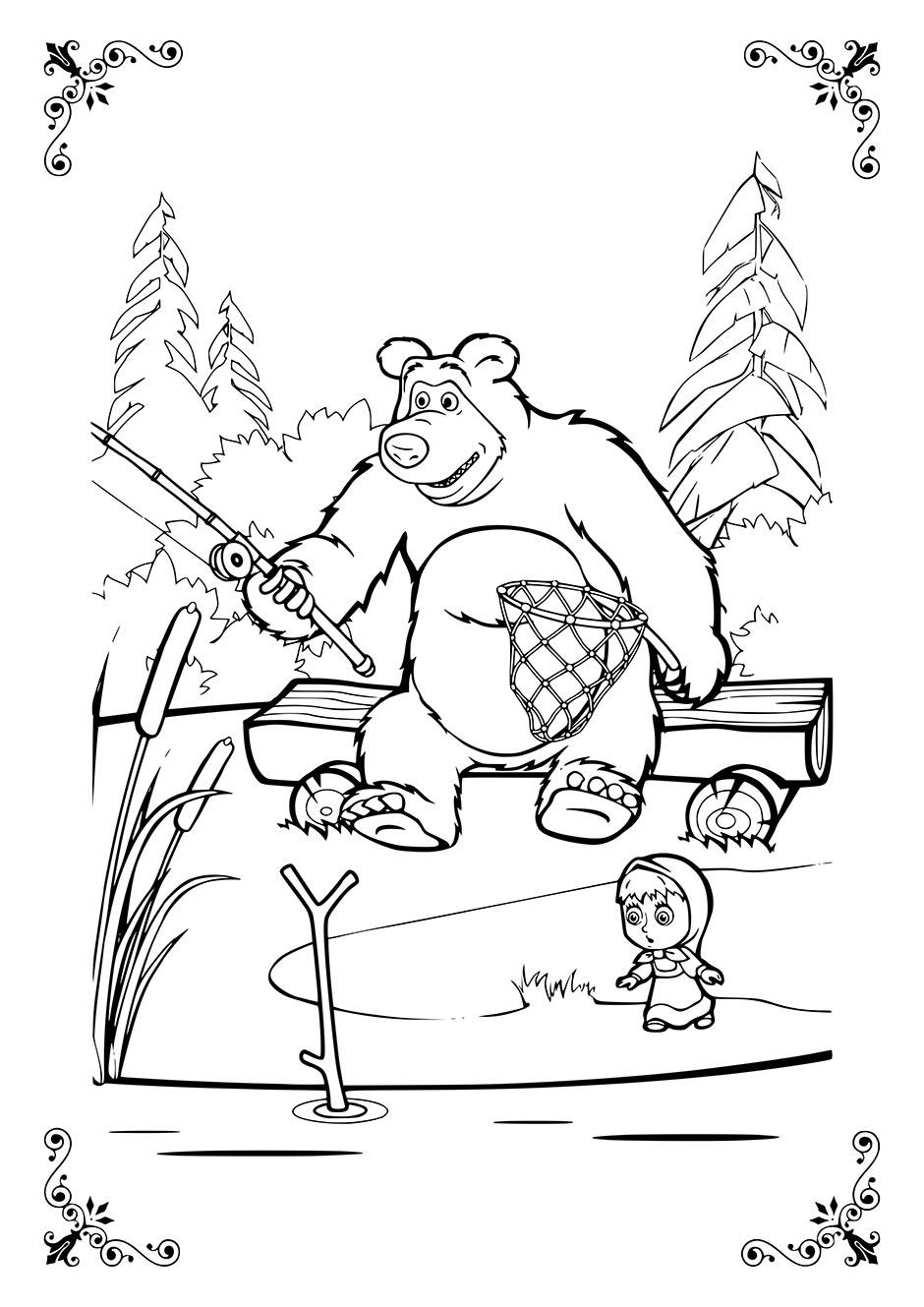 Раскраска: Маша с Медведем на рыбалке — raskraski-a4.ru