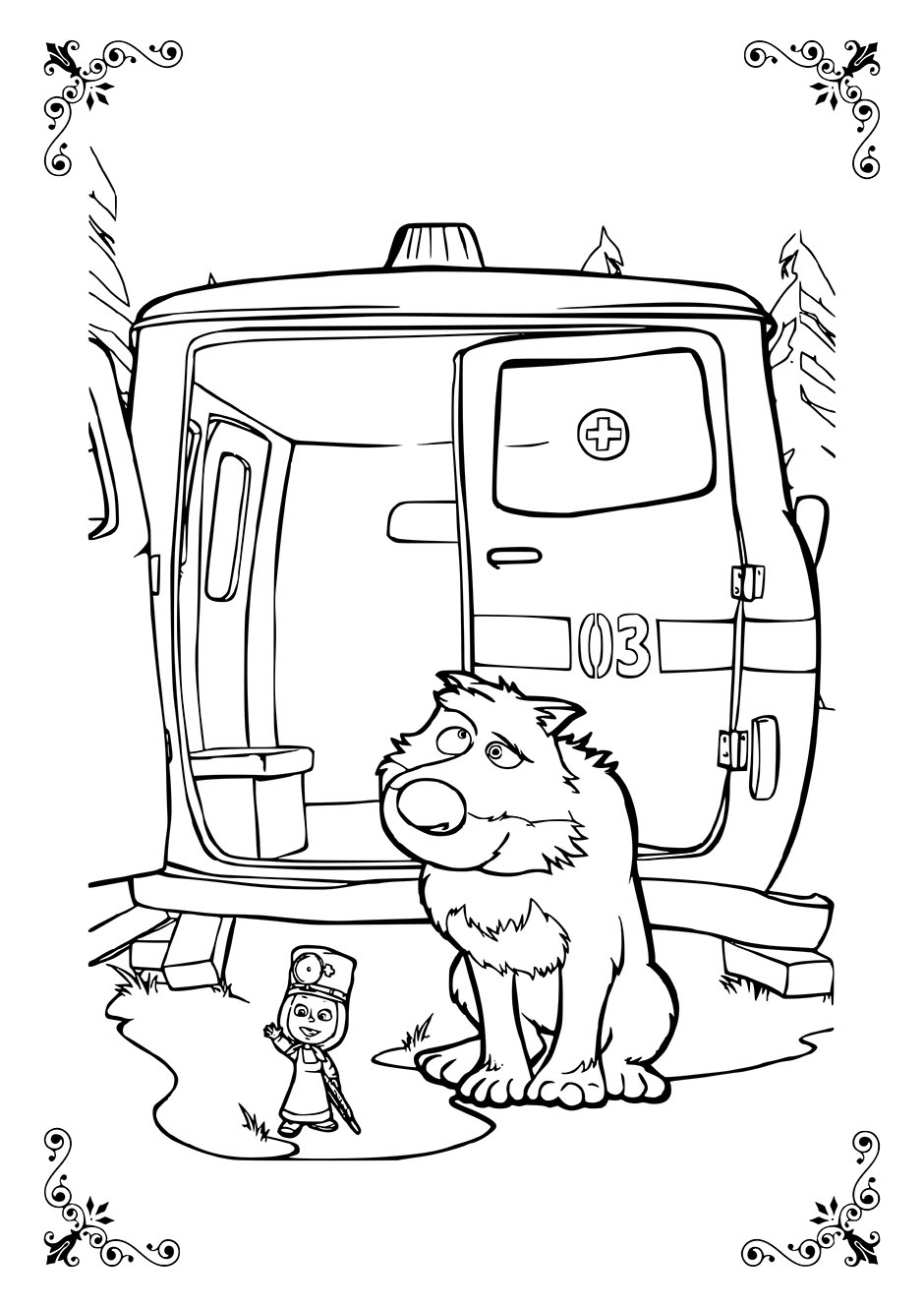 Раскраска: Маша, Волк и скорая помощь — raskraski-a4.ru