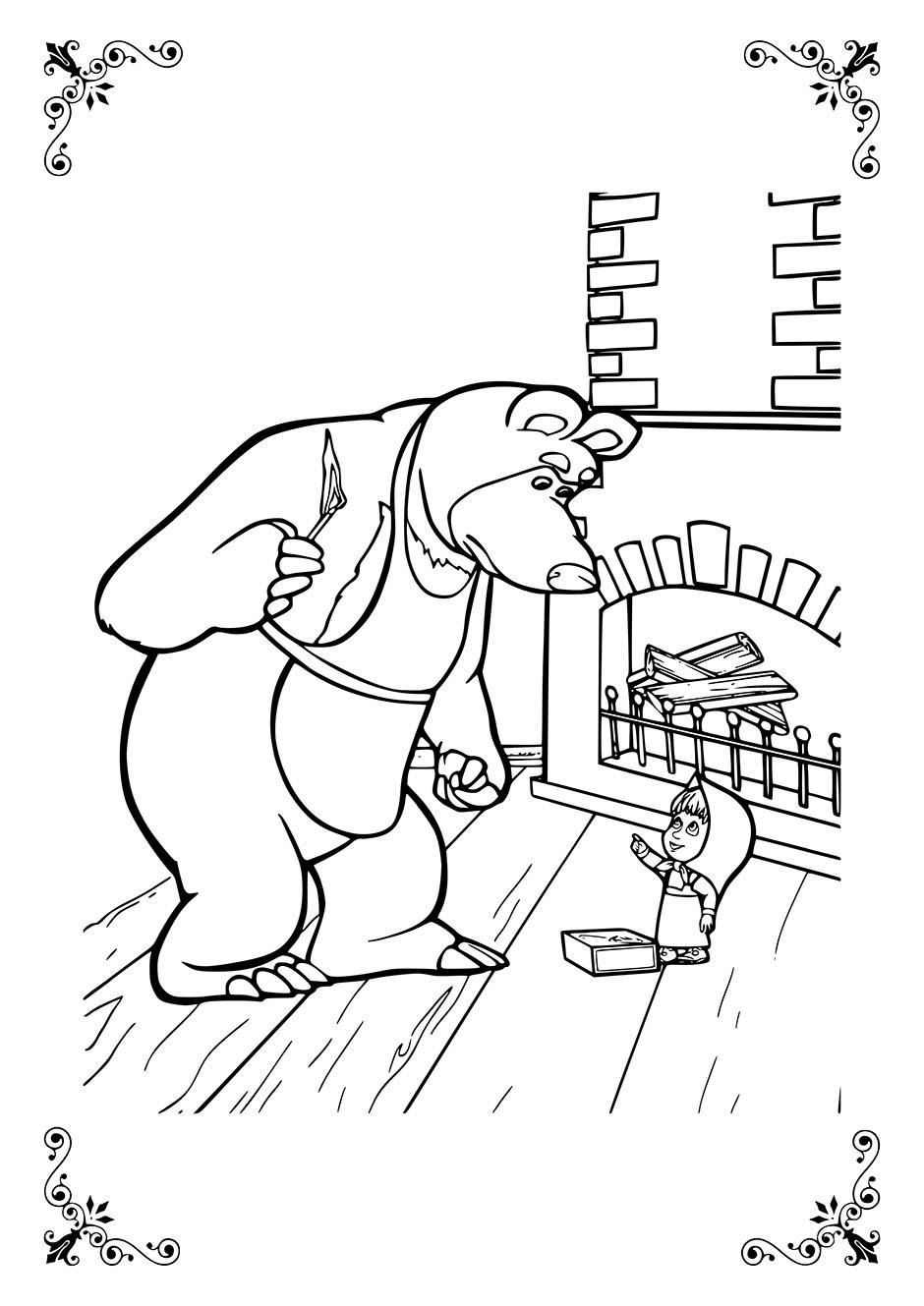 Раскраска: Медведь разжигает камин — raskraski-a4.ru