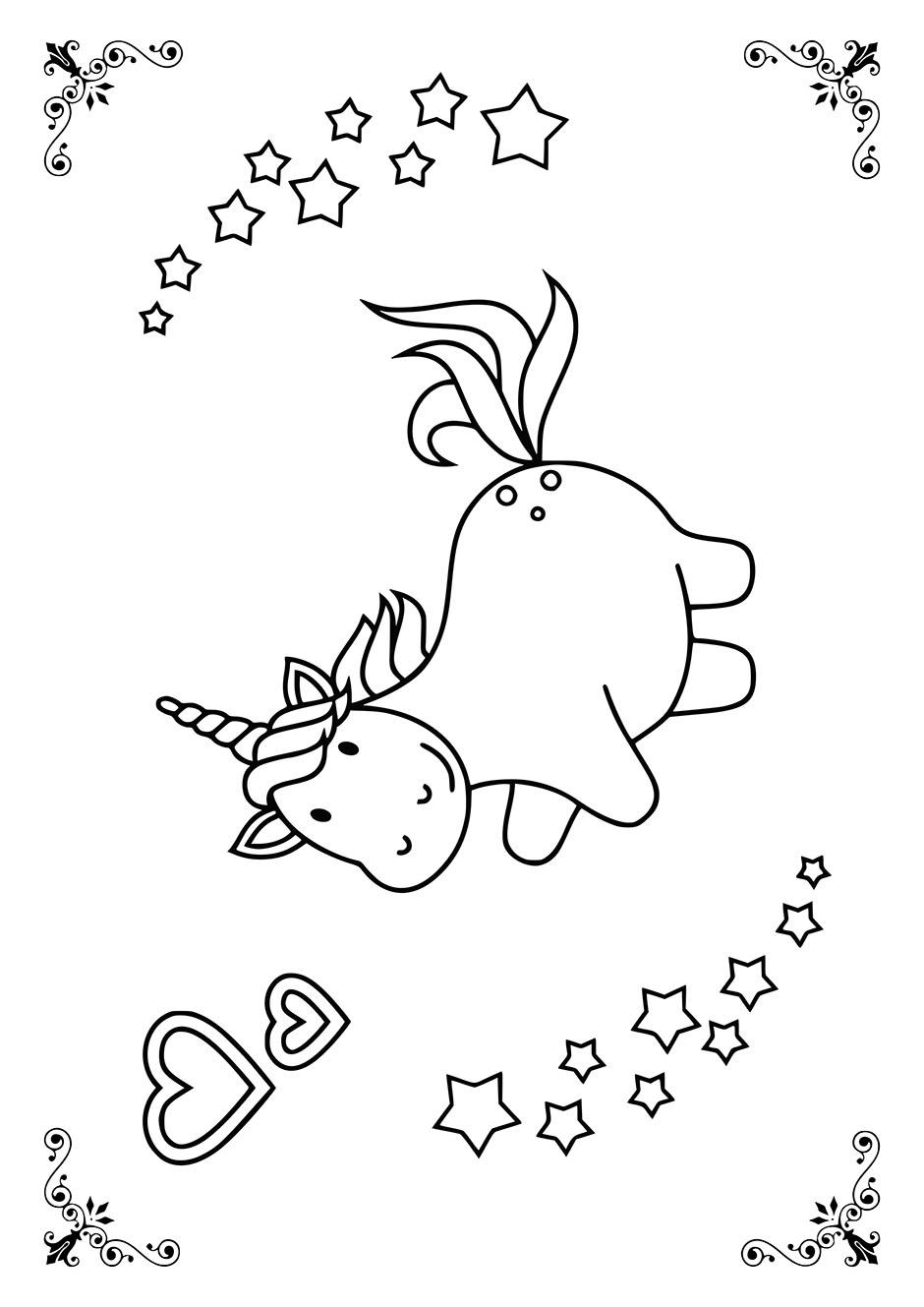 Раскраска: единорог со звездочками — raskraski-a4.ru