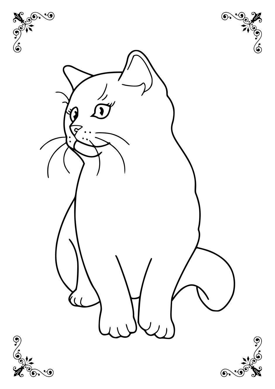 Простая раскраска: кошка — raskraski-a4.ru