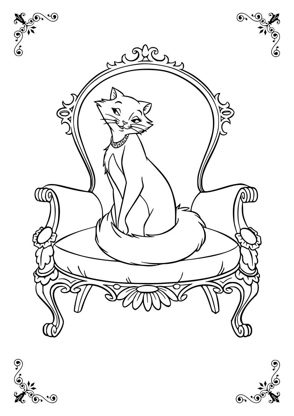 Раскраска: кошка на красивом кресле — raskraski-a4.ru