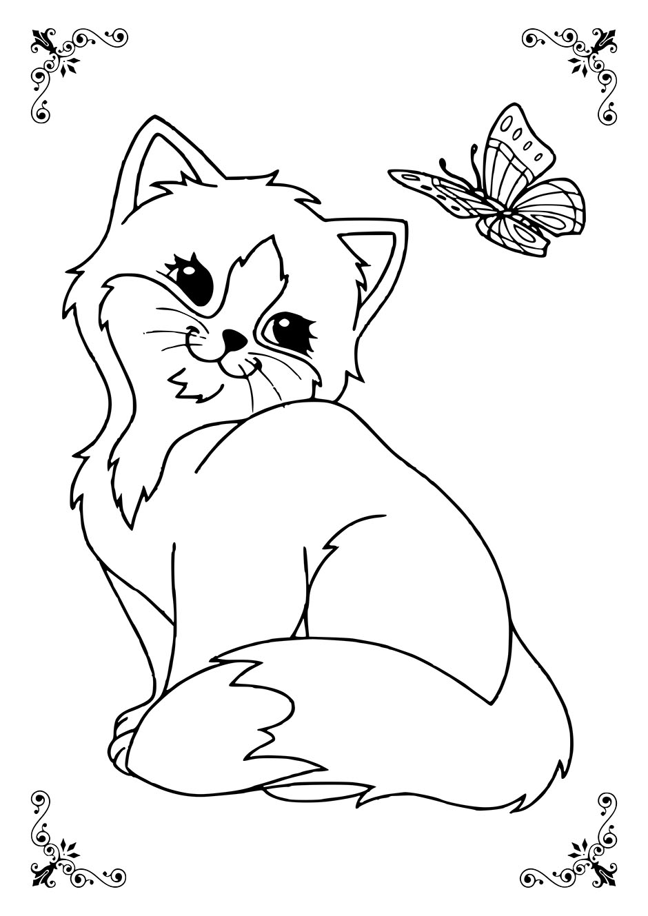 Раскраска: кошка с бабочкой — raskraski-a4.ru