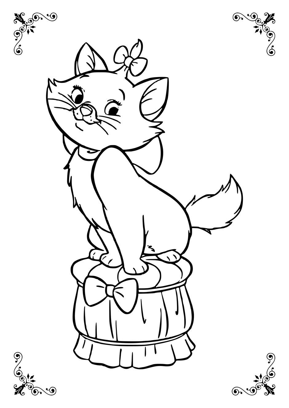 Раскраска: кошка с бантиком — raskraski-a4.ru
