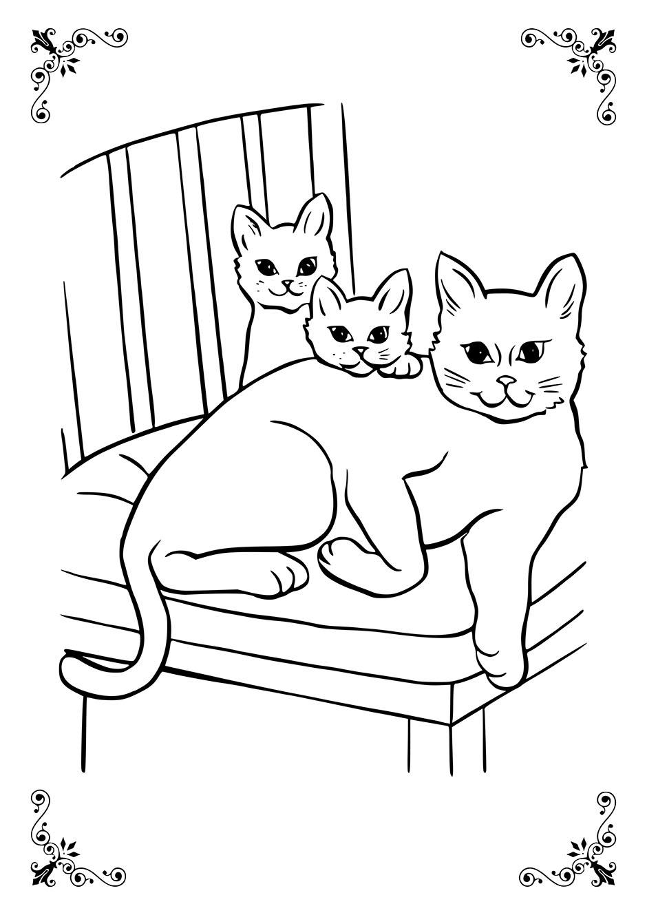 Раскраска: кошка с котятами — raskraski-a4.ru