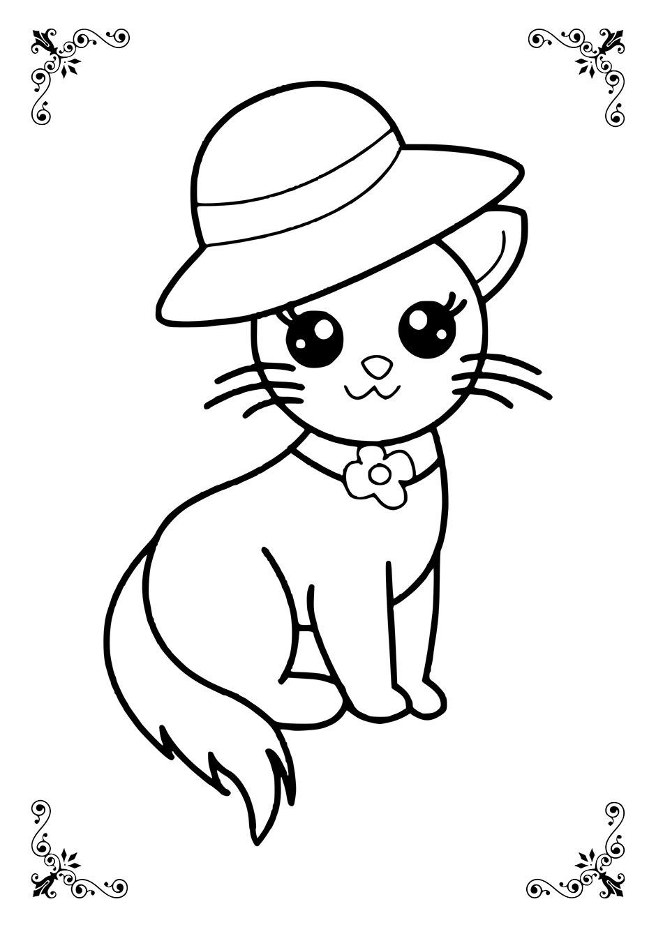 Раскраска: кошка в шляпке — raskraski-a4.ru