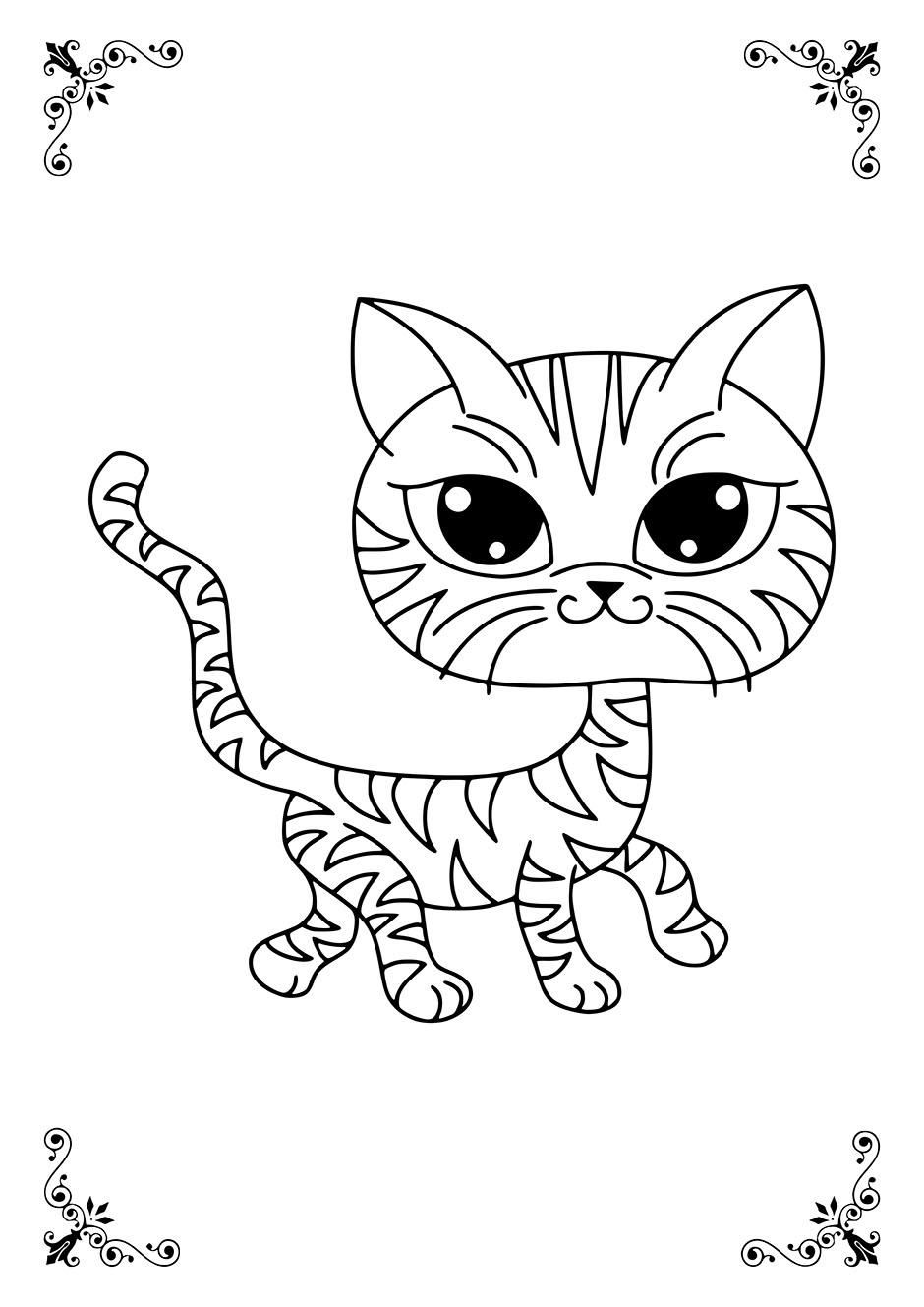 Раскраска: смешная кошка — raskraski-a4.ru