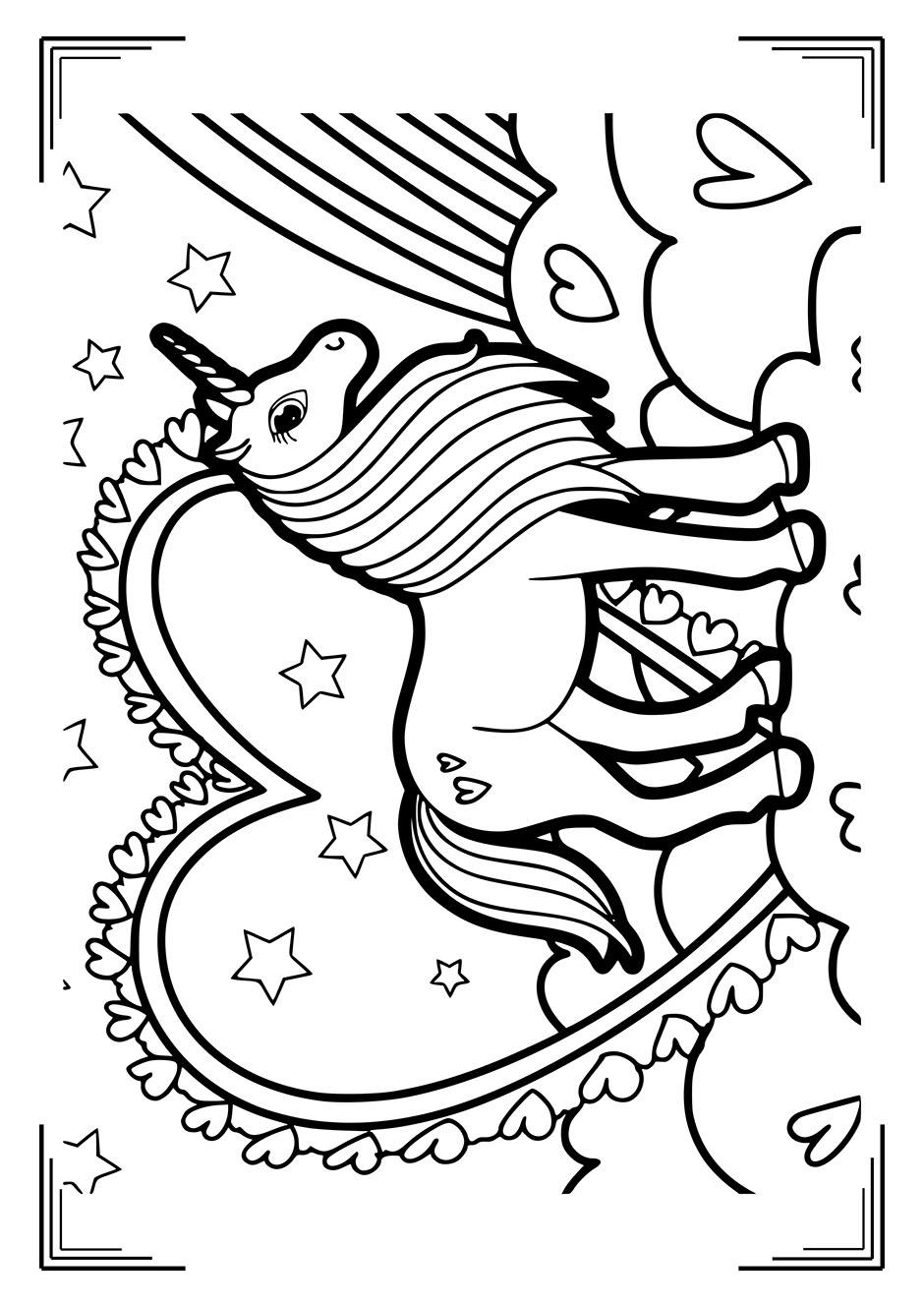 Раскраска: единорог и сердце — raskraski-a4.ru