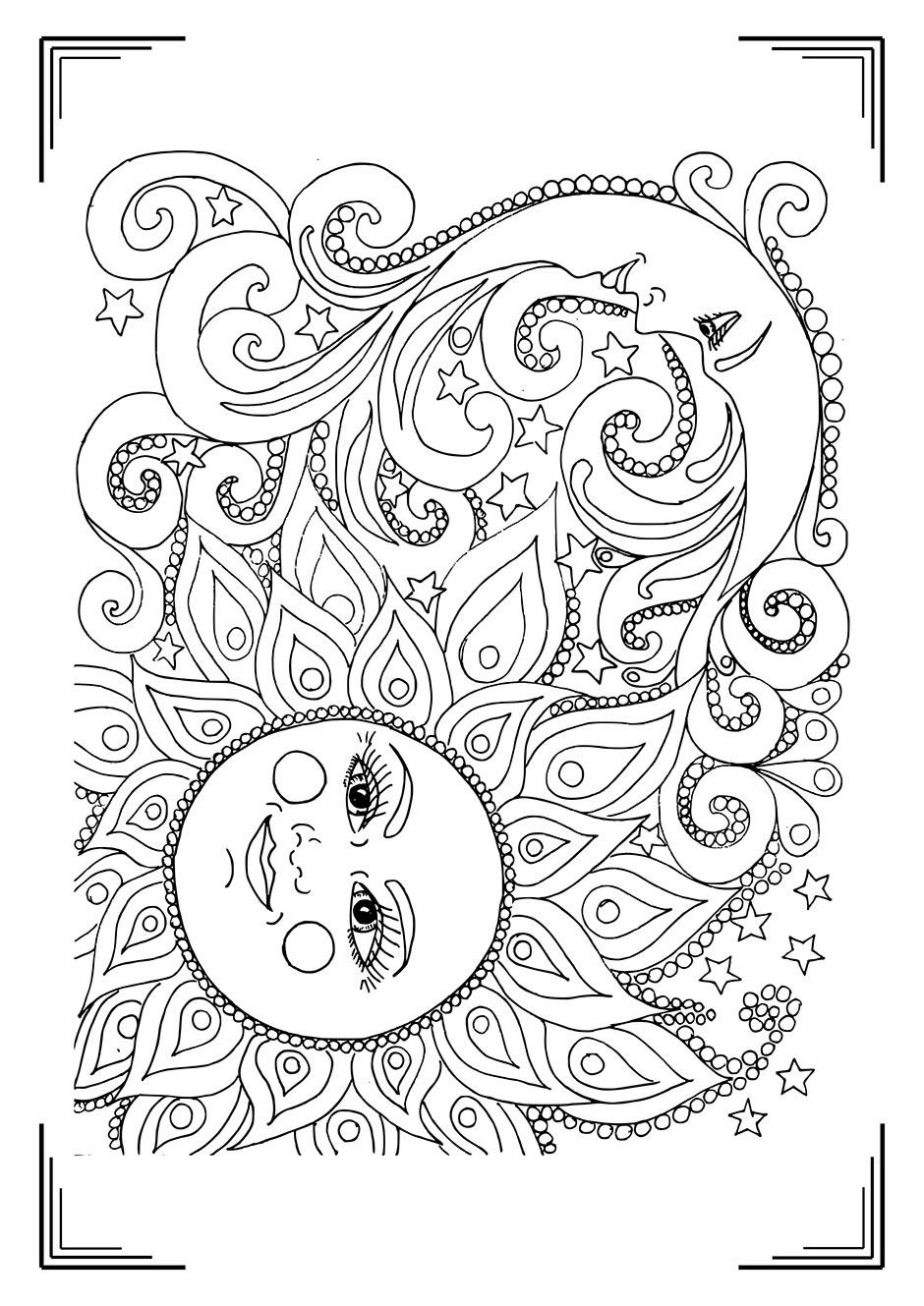 Раскраска: солнце и луна — raskraski-a4.ru