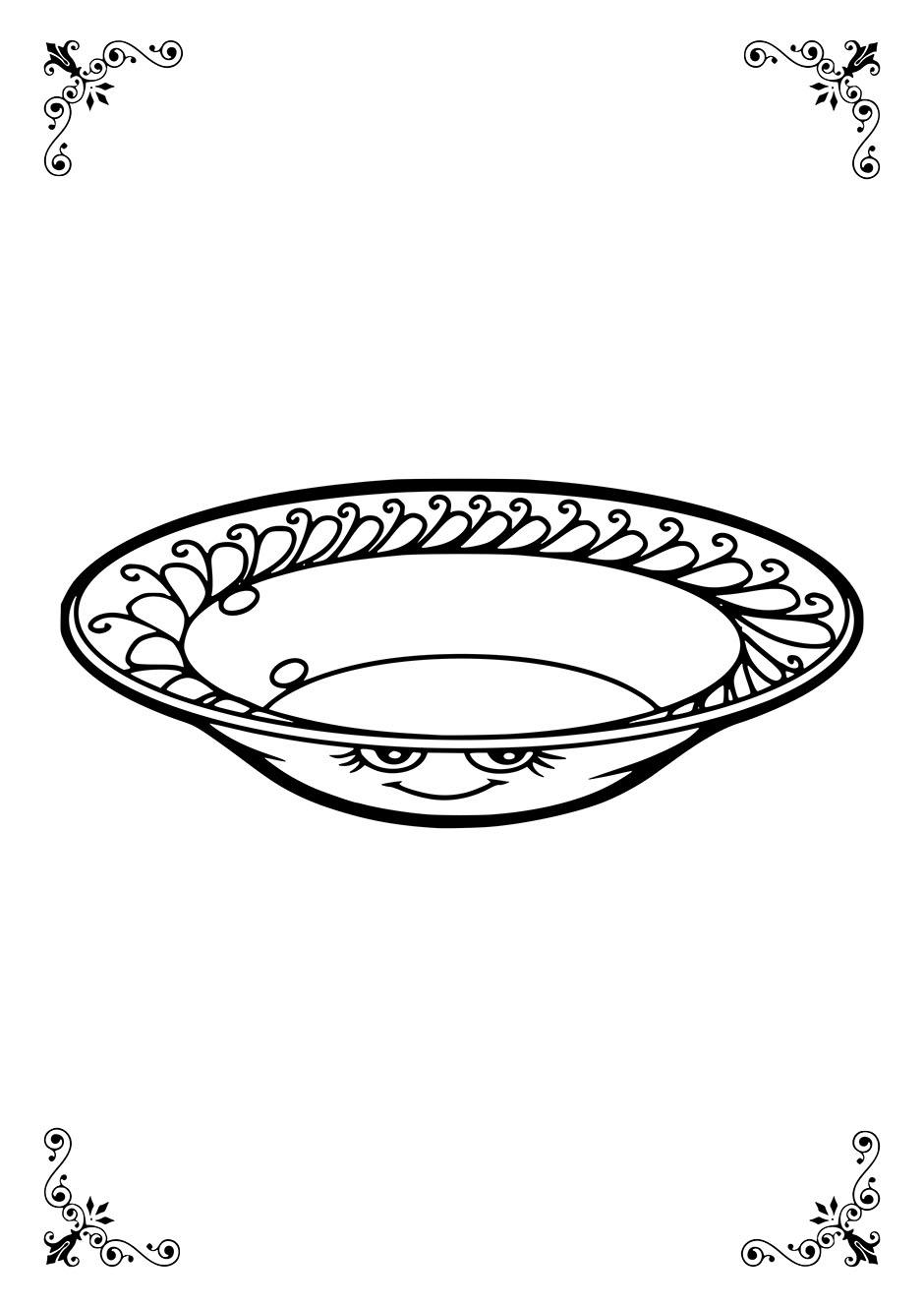 Раскраска: тарелка с глазками и ротиком — raskraski-a4.ru