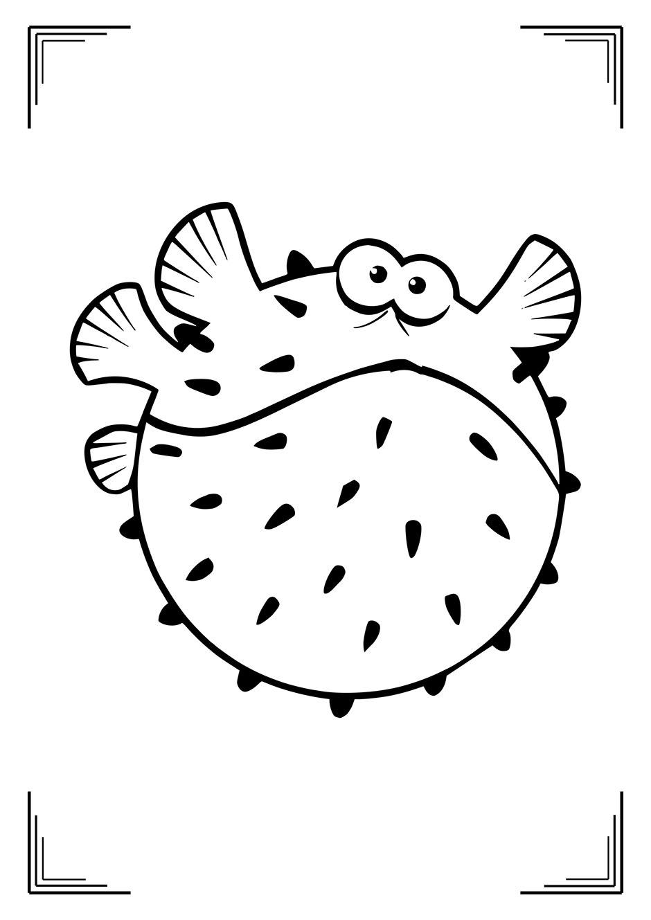 Раскраска: рыбка с шипами — raskraski-a4.ru