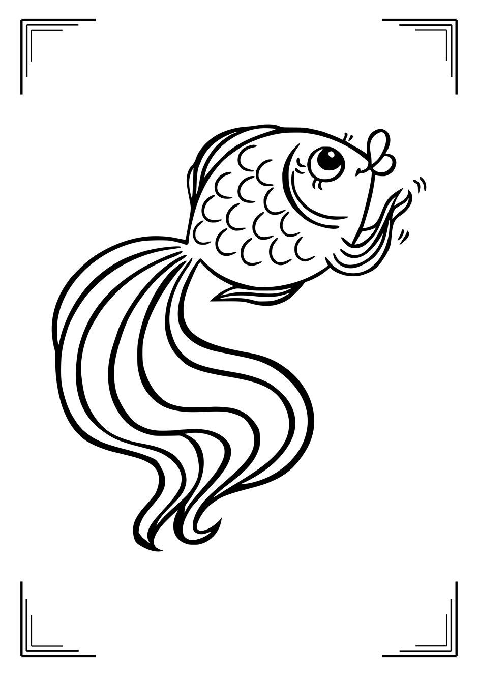 Раскраска: рыбка хлопает в плавники — raskraski-a4.ru