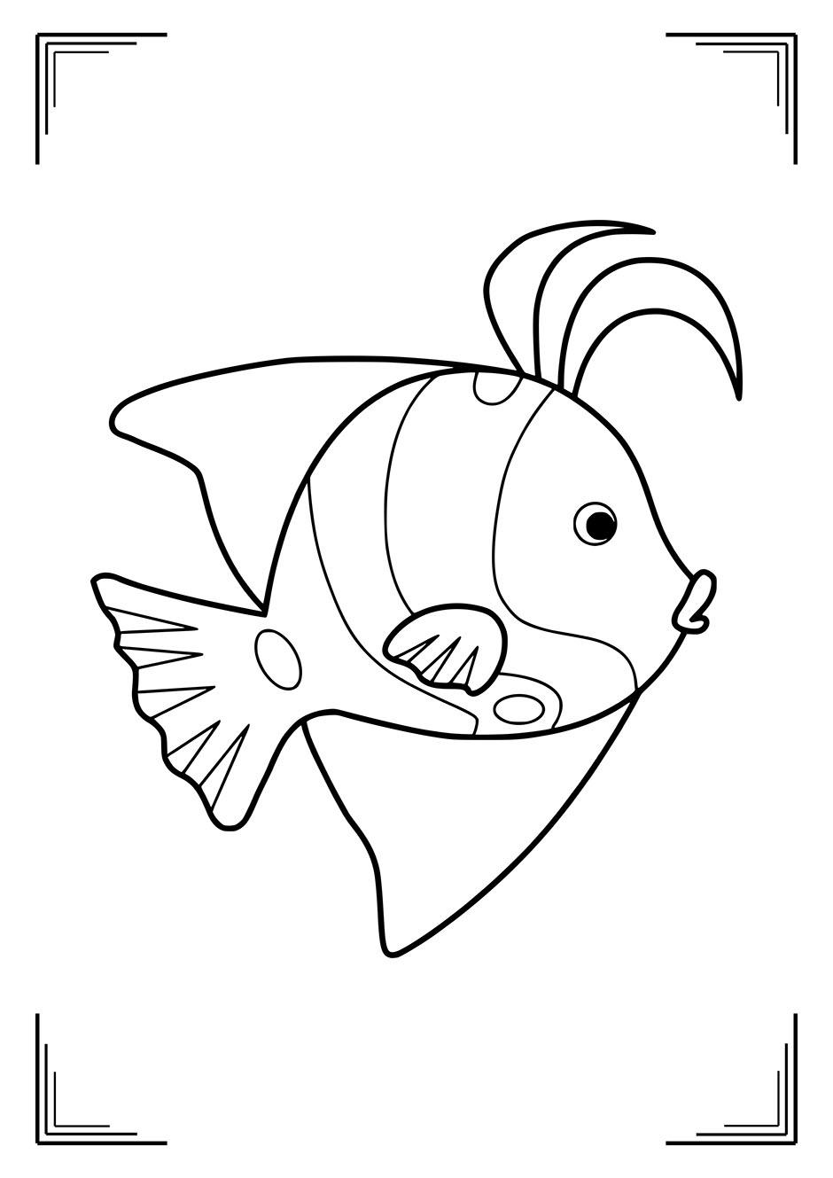 Раскраска: рыбка с большими плавниками — raskraski-a4.ru