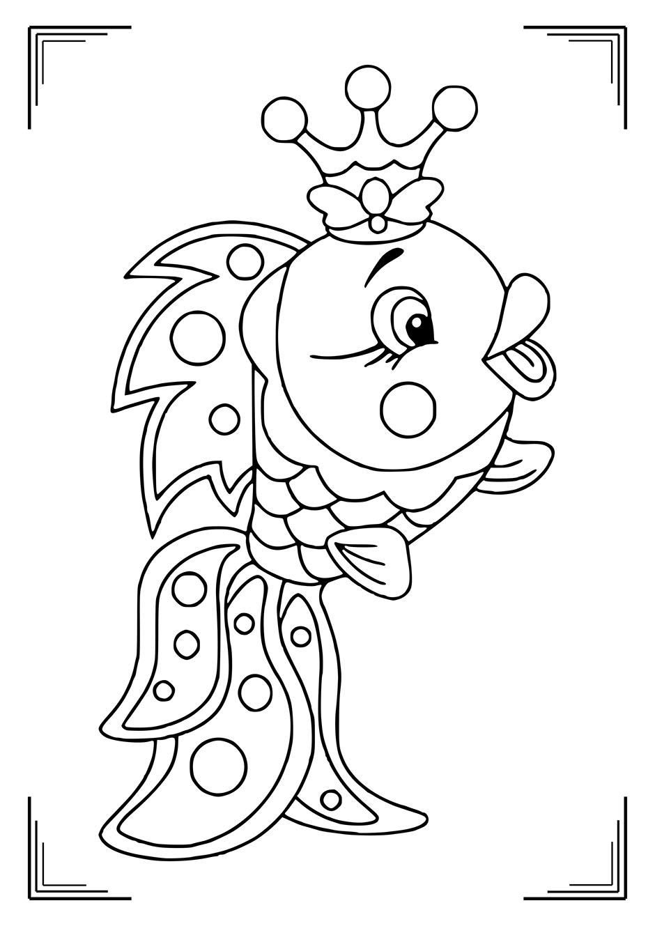 Раскраска: рыбка с короной на голове — raskraski-a4.ru