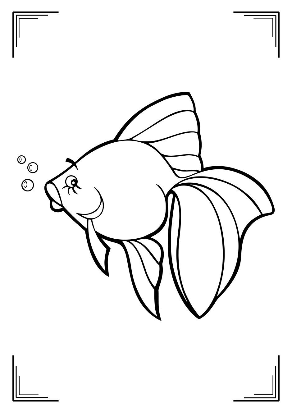 Раскраска: рыбка с пузырьками — raskraski-a4.ru