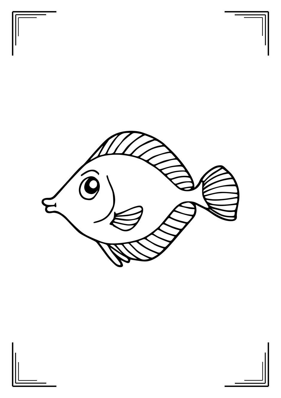 Раскраска: рыбка с вытянутыми губами — raskraski-a4.ru