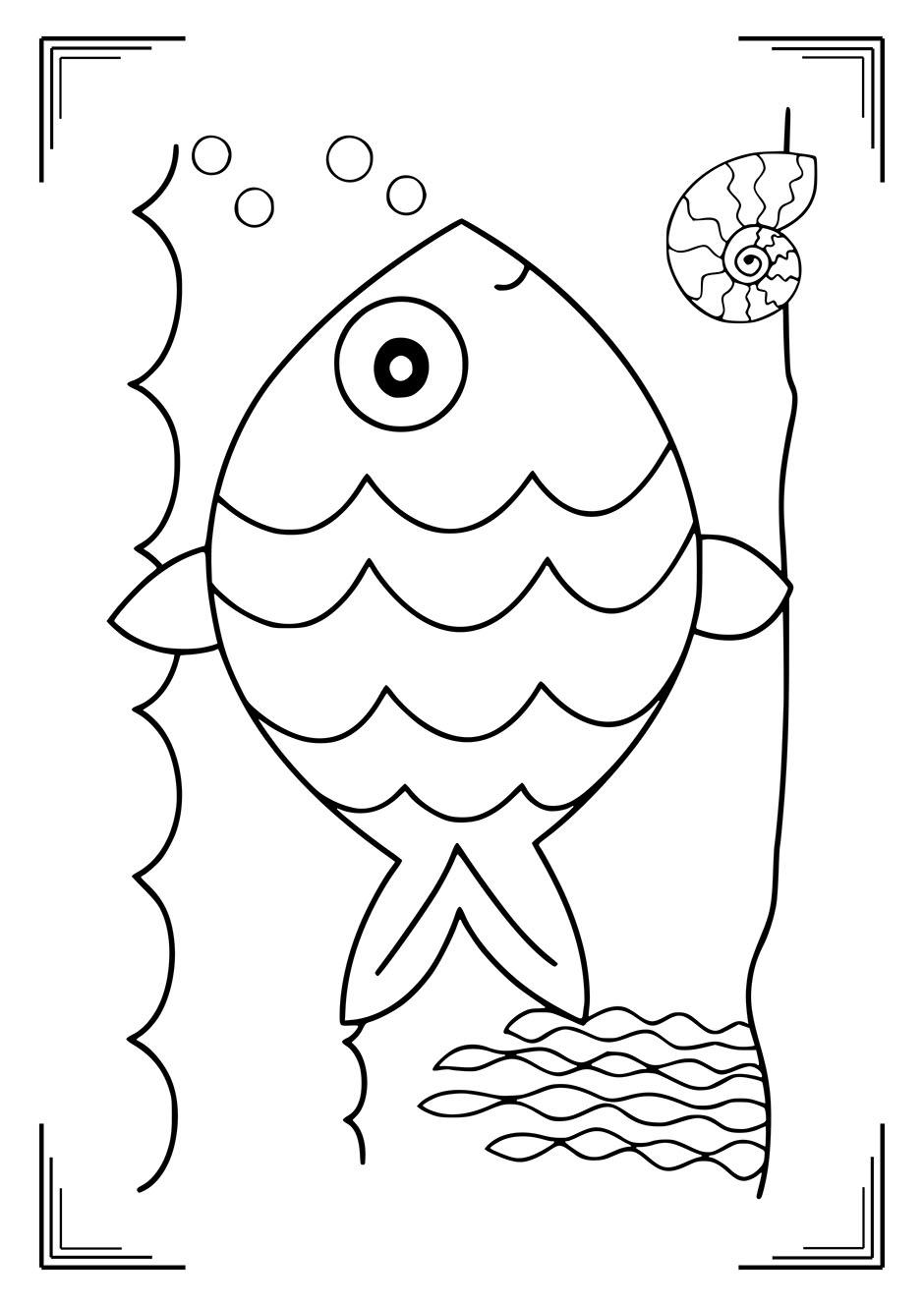 Раскраска: рыбка в воде — raskraski-a4.ru